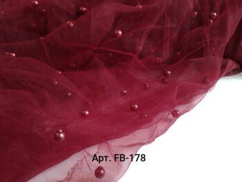 Фатин с бусинами Бордовый (FB-178)