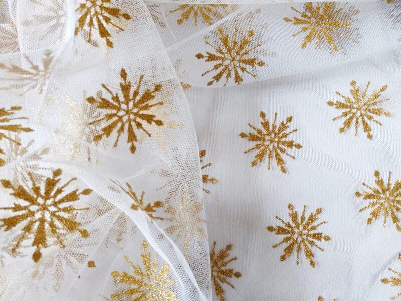Фатин Белый с золотистыми снежинками (глиттер)