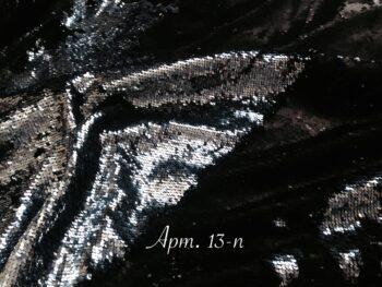 Двусторонние пайетки на сетке Черные/Серебро