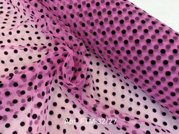 Фатин мягкий в горошек медиум Розовый/Черный (FTМ-32/27)