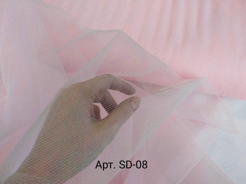 Фатин с люрексом Светло-розовый